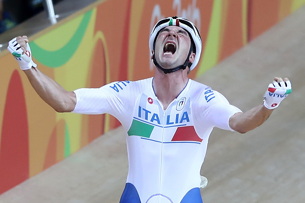 RIO DE JANEIRO, BRAZIL - AUGUST 15: Elia Viviani of Italy celebrates after winning the Cycling Track Men's Omnium Points Race 66 on Day 10 of the Rio 2016 Olympic Games at the Rio Olympic Velodrome on August 15, 2016 in Rio de Janeiro, Brazil. (Photo by Elsa/Getty Images)